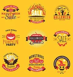 Set of Happy Halloween Badges Stickers Labels vector