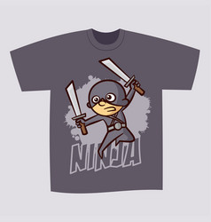 T-shirt print design superhero ninja boy vector