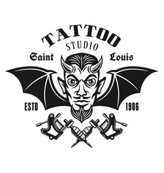 Tattoo studio emblem with horned devil head vector