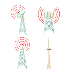Tele communication tower icon set cartoon style vector
