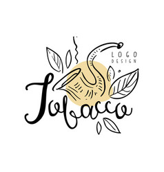 Tobacco logo hand drawn design element can be vector