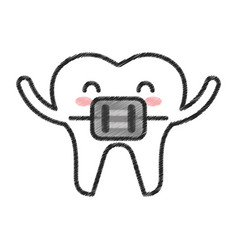 tooth with orthodontic bracket character icon vector image