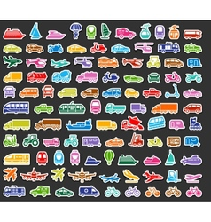 Transport icons set colored stickers vector