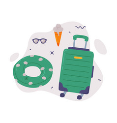 travel or vacation accessories set green plastic vector image
