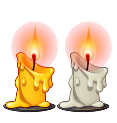 Two burning wax candles white and yellow color vector