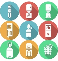 Water cooler flat round icons vector