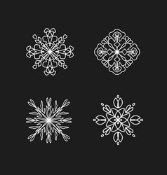 White abstract ornaments on black chalkboard vector