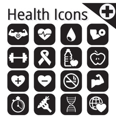 White fitness and health icon vector