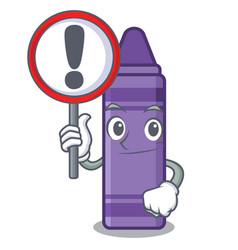 with sign purple crayon above cartoon book vector image