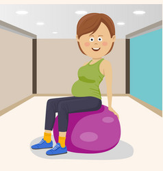 Woman sitting on pink fitness ball in a gym vector