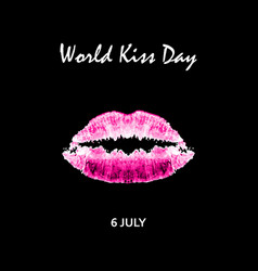 World kiss day 6 july watercolor pink lips vector