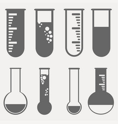 chemical test tubes pictogram icons set vector image vector image