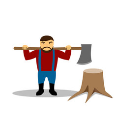 huge lumberjack and stump in flat style vector image