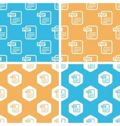 PDF document pattern set colored vector image vector image