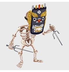 Skeleton in Ancient mask with daggers vector image vector image
