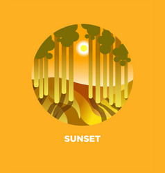 Sunset button with sunny forest and sun behind vector