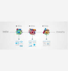 timeline template with glossy effect step numbers vector image