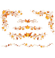Vintage autumn page decorations and dividers vector image