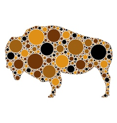 dotted of buffalo vector image vector image