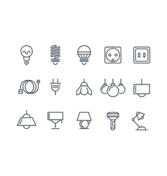 Lamp and bulbs line icons set Electrical vector image vector image