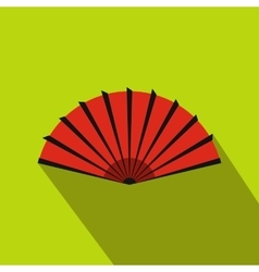 Red open hand fan icon flat style vector