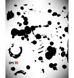 Set of ink blots in black and white vector image vector image