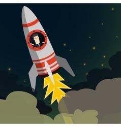 Startup Business Businessman on a rocket Flat vector image vector image