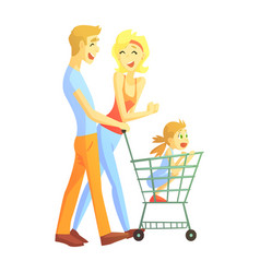 young parents with little girl shopping happy vector image