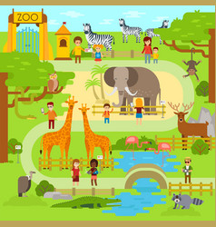 zoo flat animals flat vector image