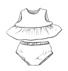 Baby clothes Dress and trunks vector image vector image