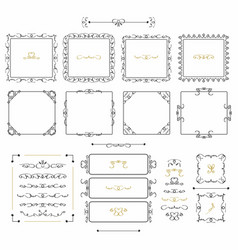 black doodle line square frames and borders set vector image vector image
