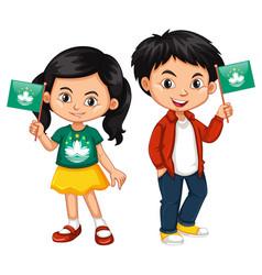 Boy and girl holding macau flag vector