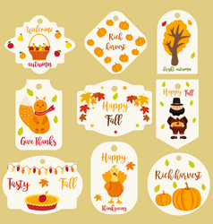 bundle of autumn labels with different characters vector image