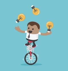 businessman riding bike one wheel play acrobatic vector image