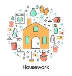 House Work Line Art Thin Icons Set vector image vector image