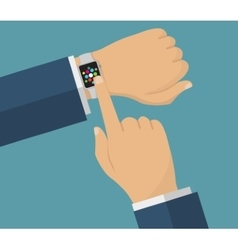 Human hand with smart watches Operation with vector image vector image