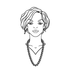Stylish beautiful lady with jewelry vector image