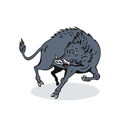 Wild Hog Jumping vector image vector image