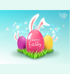 easter background with green grass color decorate vector image