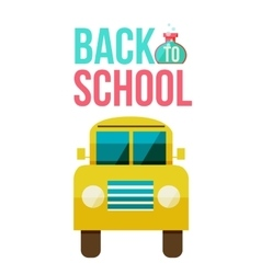 Flat yellow school bus icon vector image