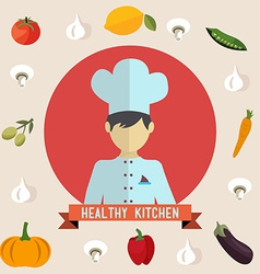 Healthy kitchen icons vector image