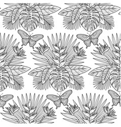 tropical outline seamless pattern vector image vector image