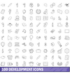 100 development icons set outline style vector image