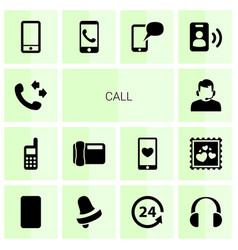 14 call icons vector image