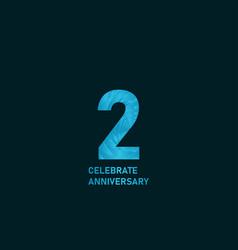 2 year anniversary aqua color template design vector
