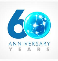 60 anniversary connecting logo vector