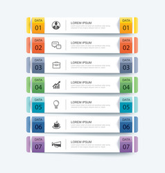 7 data infographics tab paper index template vector