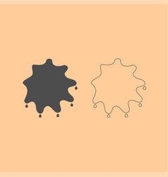 Abstract ink blot dark grey set icon vector
