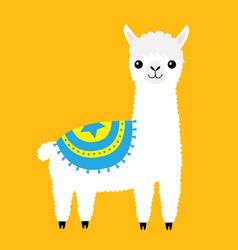 Alpaca llama animal cute cartoon funny kawaii vector