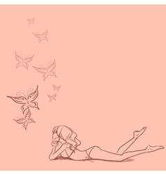 Background with girl and butterflies vector
